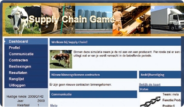 Screenshot van supply chain game